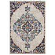 Mda Home Noble Collection Medallion Cream/blue Polyester Area Rug - 8and0391 X 10and0393