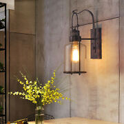 Retro Antique Vintage Rustic Glass Lantern Lamp Wall Sconce Lights Glass Shade