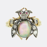 Gold Diamond Ring- Victorian Natural Pearl And Diamond Fly Ring 18ct Yellow Gold
