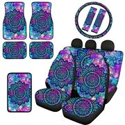 2/14pc Galaxy Seat Cover Combo Set With Steering Wheel Cover Universal Trucksuv