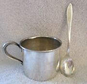 Webster Sterling Silver Baby Cup 4527 And Antique Reed And Barton Sterling Spoon