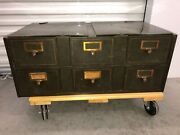 Old Us Post Office Steel 6 Drawer Card Catalog Cabinet Green Gold Stripe Heavy