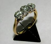 Dazzling Antique 18ct Yellow Gold And Plat .50ct Diamonds Trilogy Ring Size L 1/2
