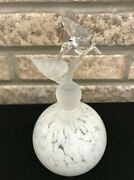 Vintage Crystal Glass Hummingbird Perfume Bottle Decorative Frosted Stopper 6.5andrdquo