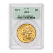 1904 20 Gold Liberty Double Eagle Pcgs Ms63 Ogh Original Green Holder Choice