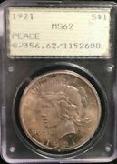 Pcgs 1921 Ms 62 Peace Dollar Toned In Old Green Rattler
