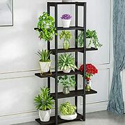 6-tier Flowers Shelf Plant Stand Flower Pot Holder Wood And Metal Planter