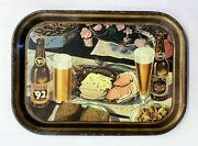 Vintage 1930and039s Oertels And03992 Lager Beer Bar Metal Serving Tray