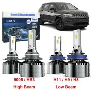 H11 Low Beam 9005 High Beam Led Combo Headlight Bulb For Jeep Compass 11 - 20