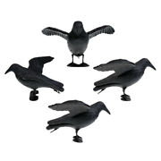 4pcs Artificial Crow Hunting Decoy Lightweight Scarecrow For Yard Lawn Decor