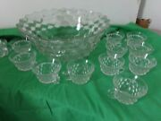 Fostoria American Pattern Punch Bowl With Punch Cups
