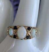 Victorian Vintage Ladies White Opal And Blue Sapphire Ring In 9kt Gold