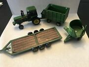 Ertl John Deere Tractor With Cab Trailer Wagon And Bale Holder Used 164
