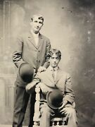 Victorian Two Young Men With Bowler Hats Full Length Pose Original Tintype Photo
