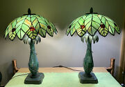 Pair Of Dale Palm Tree Stained Glass Lamps