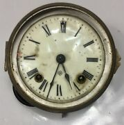 Ansonia Clock Movement With Original Dial, Bezel, Leader, And Hands