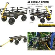Gorilla Carts Gor1400-com Heavy-duty Steel Utility Cart With Removable Sides And