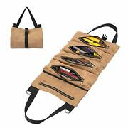 Waxed Canvas Tool Roll Bag Multi-purpose Tool Organize Bag With 5 Zipper Pock...