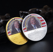 2pcs Set Gold And Silver Trump 2020 Paint 45th U.s. President Commemorative Coin