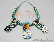 Mary Tafoya-3 Panel-multi Color Mosaic Necklace-hand Rolled Turquoise Beads-20
