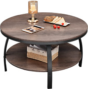 Greenforest Round Coffee Table 35.4 Inch Large Size Industrial Style Sofa Table