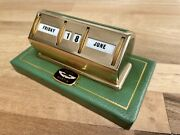 Vintage Aston Martin Leather And Gold Plated Andlsquovantageandrsquo Perpetual Desk Calendar