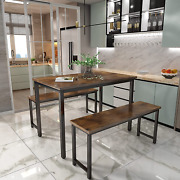 Awqm 3-piece Dining Table And Chair Set For 4 People Metal Frame And Mdf Board Fu