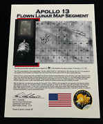 Apollo 13 Flown To The Moon Cut Relic Of Map On Presentation / Certified By Sccs