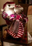Telco Motion-ette Animated Black Mr And Mrs Santa On Rocking Chair Rare Large