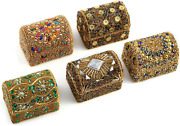 Shop Lc Jewelry Holder Mini Treasure Chests Trinket Boxes Handcrafted Set Of 5 B