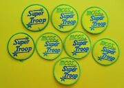 8 New Girl Scout Fun Patches - Mcgs Super Troop 3 Yellow, Green. Blue Round