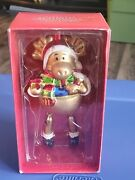 Pier 1 Imports 2001 Jointed Reindeer Mouth-blown Hand Painted Ornament