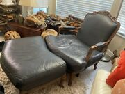 Black Leather And Wood Armed Chair And Ottoman - South Fl 33411