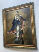Antique 18th Century Oil Painting Virgin Mary Mexican Or Spanish Old Master