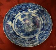Antique Dark Flow Blue 10 Dinner Plate Fairy Villas Leone China By W Adams And Co