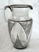 Vintage Deco Sterling Silver Inlay Elegant Cut Glass Water Pitcher 10 Inches