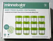 Minnebaby Baby Food Glass Storage Containers 12 4 Oz Jars - Fast Ship - New