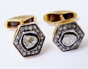 925 Sterling Silver Rose Cut Diamond Polki Cuff Links Antique Style Mens Jewelry