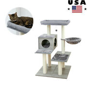 Cat Tree 3 Level Tower With Scratching Climb Activity Toys Pet Bed House Gray