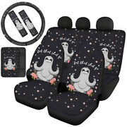 Cartoon Animals 8/10pcs Full Seat Covers Car Accessory With Seat Belt Pads Decor
