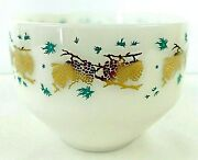 Vintage Federal Glass Bowl Dish Golden Pinecone And Turquoise 1.5 Quart Usa