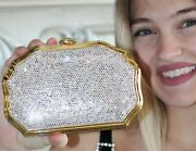 Judith Leiber Crystal Scalloped Regal Clam Gold Minaudiere Clutch