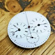 Dual Train And Time Zone Swiss Antique Pocket Watch Movement For Repair P130