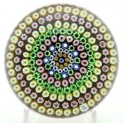 Large Amazing Baccarat Vintage 10 Row Millefiori Cane Art Glass Paperweight