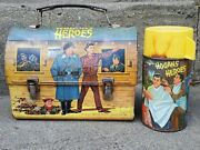 Vintage 1966 Bing Crosby Aladdin Hogan's Heroes Wwii Dome Lunch Box Thermos