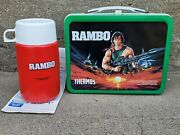Vintage 1985 Rambo Movie Metal Lunch Box W/ Thermos Unused With Tag