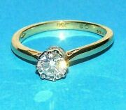 Dazzling 18ct Yellow Gold Classic Claw Set 0.60ct Diamond Solitaire Ring Size M
