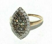 Stunning Secondhad 9ct Yellow Gold 1.0ct Champagne Diamonds Cocktail Ring Size P