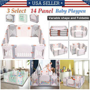 Folding Baby Playpen 14 Panel Safety Play Center Yard Home Pen Fence W/two Doors