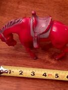 Vintage Red Plastic Toy Standing Horse With Saddle